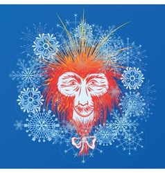 Stylized japanese macaque and snowflakes vector