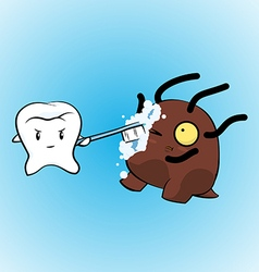Tooth fight brush pose vector