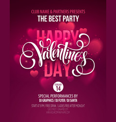 Valentines day party poster design template of vector