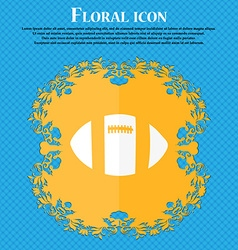 rugby ball icon Floral flat design on a blue vector image