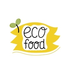 Organic food label logo for vegan menu or food vector