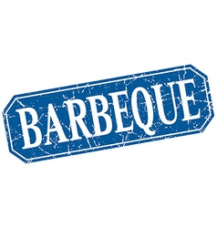 Barbeque blue square vintage grunge isolated sign vector
