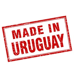 Uruguay red square grunge made in stamp vector
