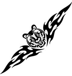 Tiger and symmetric tribals - vector image