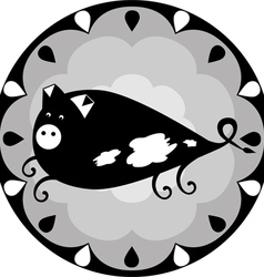 Funny chinese horoscope pig vector