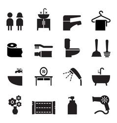 Bathroom restroom toilet icon set vector