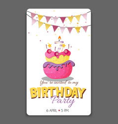 Birthday party invitation card template vector