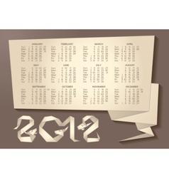 calendar - dragon origami 2012 year vector image