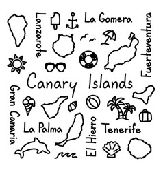 Canary islands hand drawn doodle outline summer vector
