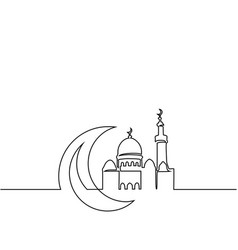 Continuous line drawing of mosque with moon vector