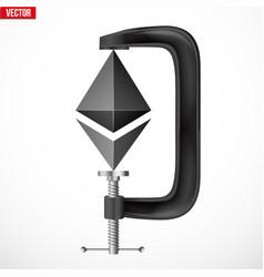 Cryptocurrency symbol ethereum under pressure vector