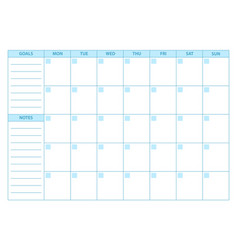 Empty planner scheduler agenda or diary template vector