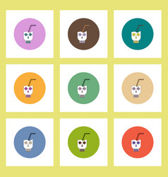 Flat icons halloween set of doodle coctail in vector