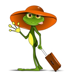 Frog with a suitcase vector image