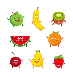 Funny fruits characters cartoon set vector image vector image
