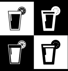 Glass of juice icons black and white vector