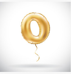 Golden number 0 zero metallic balloon party vector