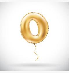 Golden number 0 zero metallic balloon party vector