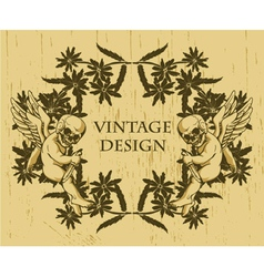 grunge floral frame with angels vector image