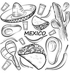 Hand drawn doodle mexico set vector