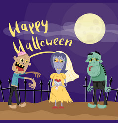 happy halloween poster with zombies in cemetery vector image