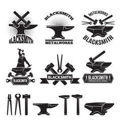 Industrial logo set labels for blacksmith vector