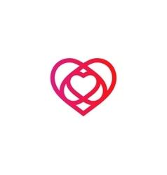 Isolated crimson abstract monoline heart logo vector