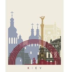 Kiev skyline poster vector image vector image