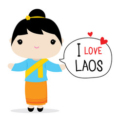 laos women national dress cartoon vector image vector image