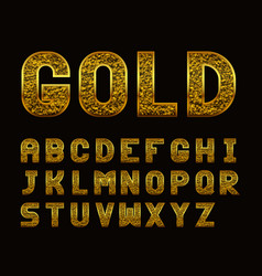 Latin alphabet with golden texture vector