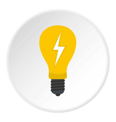 Light bulb with lightning inside icon circle vector