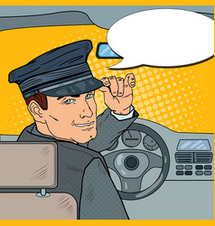 limousine driver inside a car pop art vector image