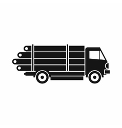 Log truck with the pile of logs icon simple style vector
