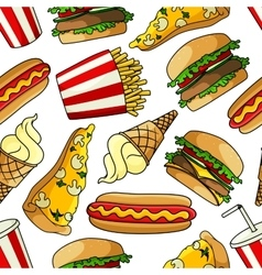 Pizzas burgers hot dogs drinks seamless pattern vector