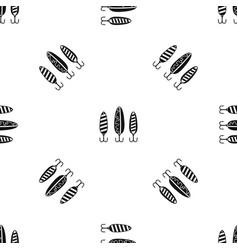 Plastic fishing lure pattern seamless black vector