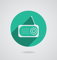 Radio flat icon silhouette with long shadow vector image vector image