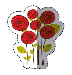 Red round roses with leaves icon vector