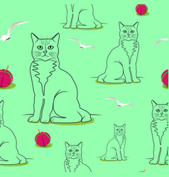 seamless cats pattern birds globules on a light vector image vector image