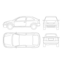 Sedan car in lines isolated car template for car vector