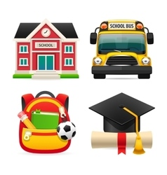 Set of Four School Icons vector image vector image