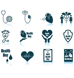 Set of health day icons vector