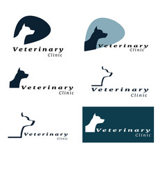 set of logos for vet clinic with the silhouette of vector image