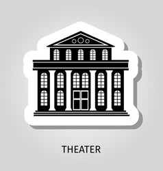 Theater black building sticker vector