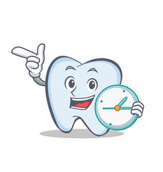 Tooth character cartoon style with clock vector
