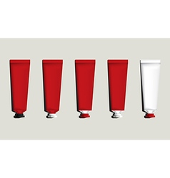 Tubes for packaging red set vector