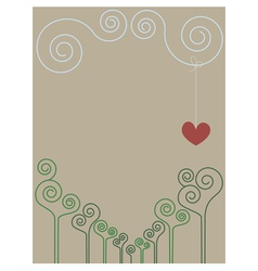 Vintage romantic spiral drawing vector