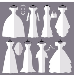 Wedding dresses silhouette setfashion flat vector