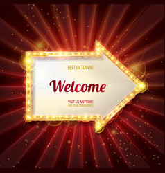 welcome banner glowing arrow vector image vector image