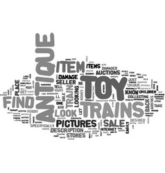 where to find antique toy trains for sale text vector image