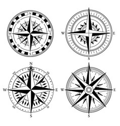 Wind rose retro design collection vintage vector